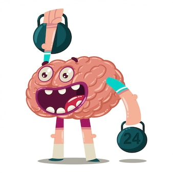 Cute cartoon brain trains with weights. vector character of an internal organ isolated. brainstorm character.