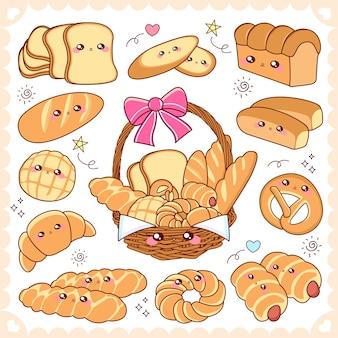 Cute cartoon bread in the basket
