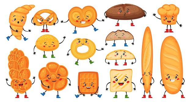 幸せそうな顔でかわいい漫画のパンのキャラクター。面白いクロワッサン、マフィン、バゲット、プレッツェル、トースト。ベーカリーマスコット文字ベクトルセット。陽気な表情の朝ごはんの新鮮なおやつ
