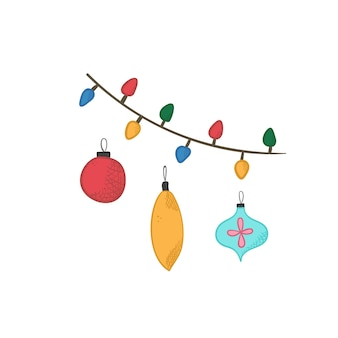 Cute cartoon bright christmas balls and garland for new year design, labels, coloring books, greeting cards