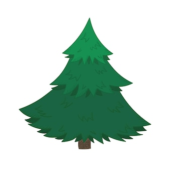 Cute cartoon bright christmas fir tree for new year design, labels, coloring books, greeting cards