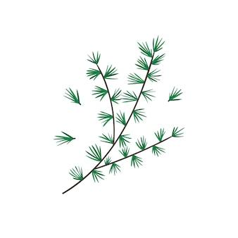 Милый мультфильм яркая новогодняя еловая веточка для новогоднего дизайна, этикеток, раскраски, поздравительных открыток