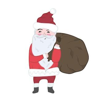 새해 디자인, 라벨, 색칠하기 책, 인사말 카드를 위한 귀여운 만화 밝은 크리스마스 산타클로스