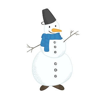 Cute cartoon bright christmas snowman for new year design, labels, coloring books, greeting cards