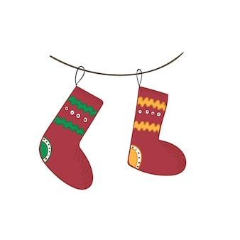 Милый мультфильм яркие рождественские чулки