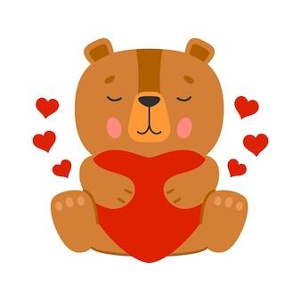 Милый мультяшный коричневый плюшевый мишка с красными сердцами