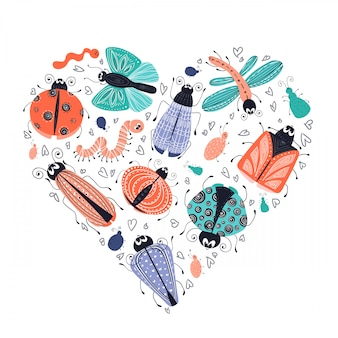 Cute cartoon bugs, beetles, vector set