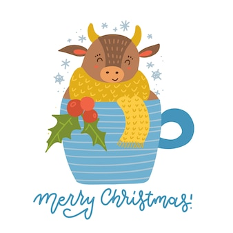 Милый мультяшный бык сидит за чашкой кофе или чая. уютный животный символ года. открытка.