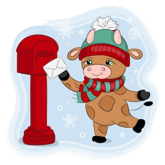 Cute cartoon bull a winter hat sends a letter new year merry christmas holiday hand drawn illustration