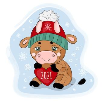 冬の帽子でハートのかわいい漫画の雄牛。メリークリスマス漫画イラスト