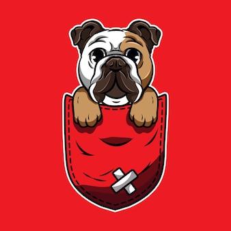 Cute cartoon a bulldog in a pocket