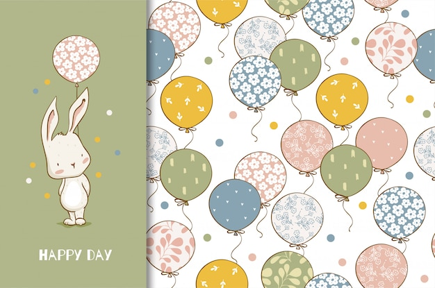 Cute cartoon bunny character with balloons. kids animal card and seamless pattern. hand drawn design illustration.