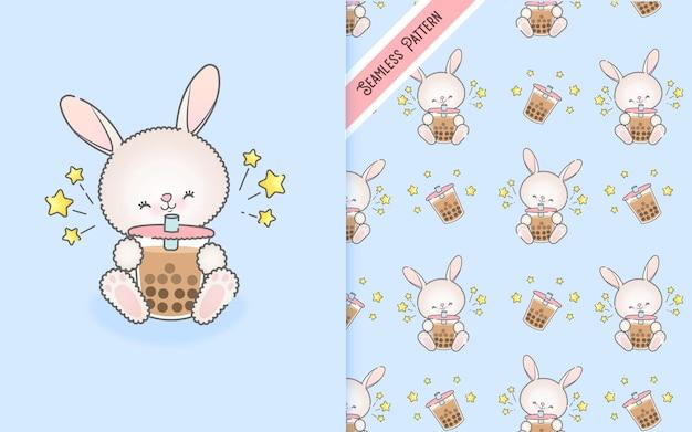 Милый мультяшный кролик пьет молочный коктейль с бесшовным рисунком premium