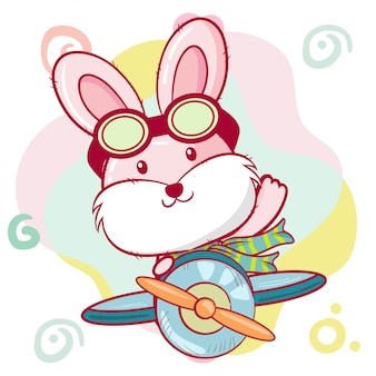 Cute cartoon bunny is flying on a plane