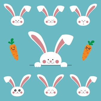 Cute cartoon bunny rabbit characters emoji set