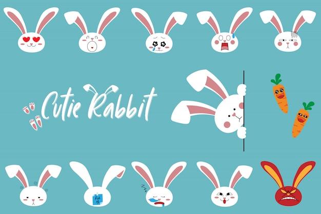 かわいい漫画のウサギのキャラクター絵文字セット