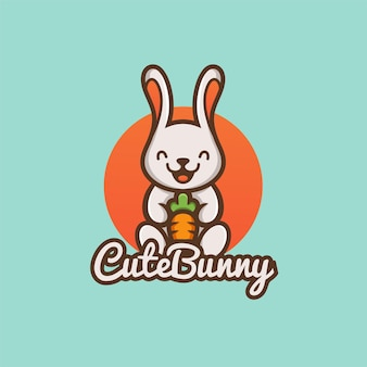 Cute cartoon bunny rabbit hold carrot nature organic vegetable farm mascot  logo