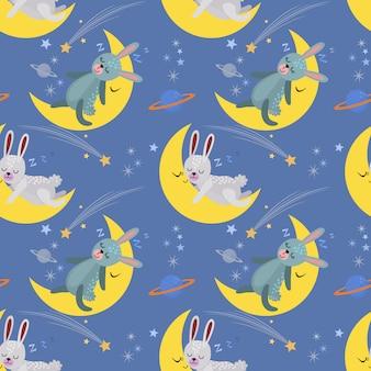 Cute cartoon bunny sleeping on the moon.