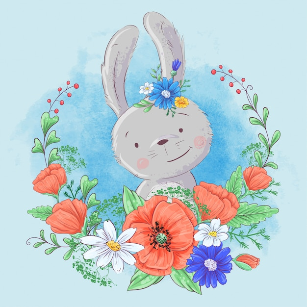 Cute cartoon bunny in a wreath of poppies and daisies, wildflowers.