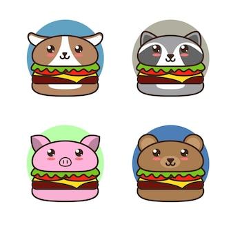 Милый мультяшный бургер с иллюстрацией животных