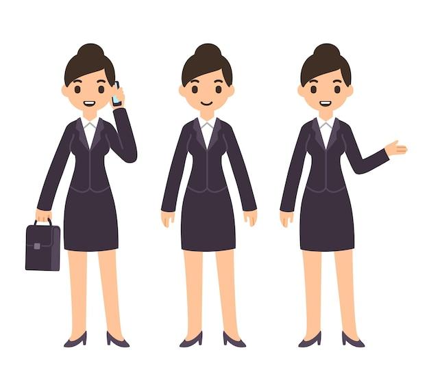 ビジネススーツのかわいい漫画の実業家スーツケースの立っているとポインティングジェスチャーで電話で話している3つのポーズ