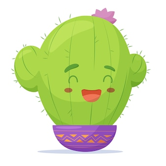 Cute cartoon cactus girl. vector illustration.