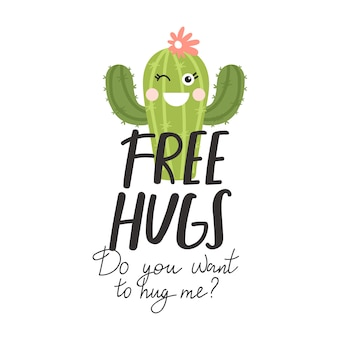 Cute cartoon cactus with creative typography.