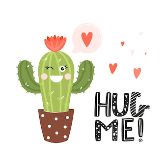 Cute cartoon cactus with funny face.