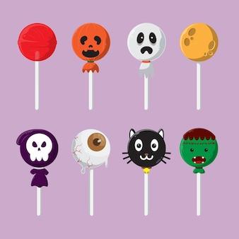 Симпатичный мультяшный набор конфет на хэллоуин леденцы на палочке на хэллоуин с различными персонажами
