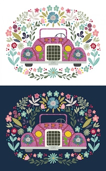 Cute cartoon car with a folk floral elements and patterns. hand-drawn flat vector illustration