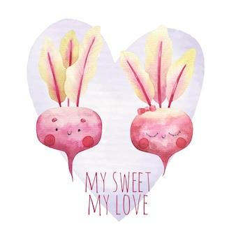 Милая мультяшная открытка, влюбленная свекла, детская иллюстрация ко дню святого валентина