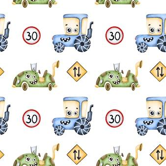 かわいい漫画の車のシームレスなパターン。トラクター、サイバーパンクマシン、道路標識のシームレスなパターン。