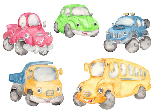 Cute cartoon cars