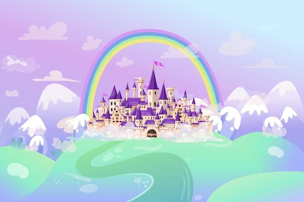 Милый мультяшный замок. сказочный средневековый замок в мультяшном стиле.