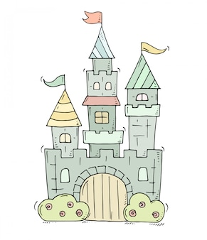 Cute cartoon castle for prince and princess