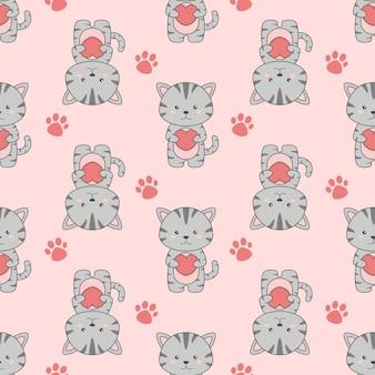 귀여운 만화 고양이 심장 원활한 패턴