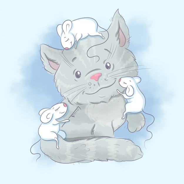かわいい漫画の猫とマウス。水彩イラスト