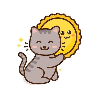 Милый мультяшный кот и солнце