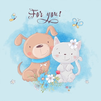 Cute cartoon cat and dog with flowers