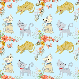 Cute cartoon cat and flowers seamless pattern.