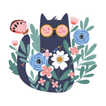 Cute cartoon cat in glasses with hand drawn flowers butterfly
