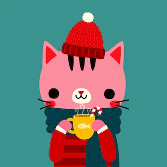 Cute cartoon cat holding cup of hot chocolate