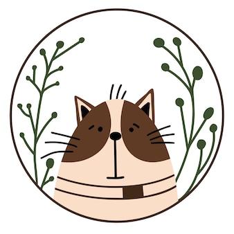 라운드 프레임에 귀여운 만화 고양이입니다. 벡터