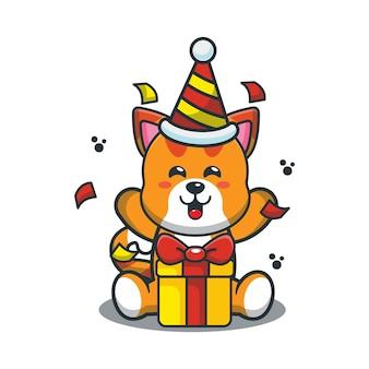 誕生日パーティーでかわいい漫画の猫