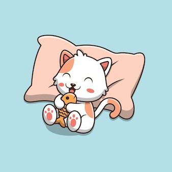 Cute cartoon cat lying on the pillow and holding fish