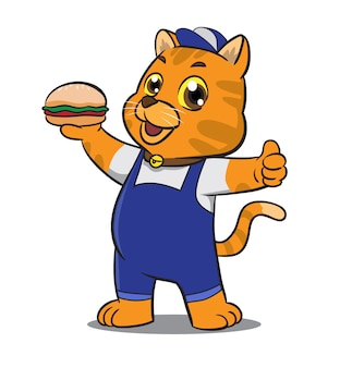 Cute cartoon cat mascot holding sandwich