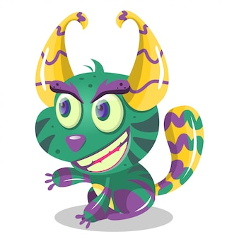 Cute cartoon cat monster for party decoration