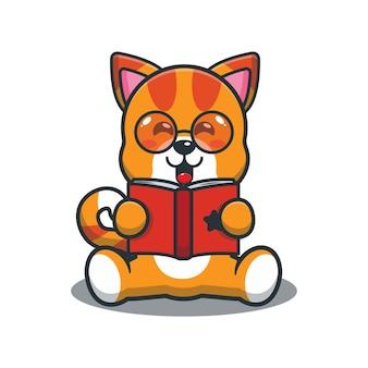 Cute cartoon cat reading a book