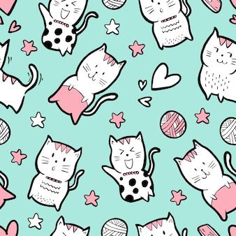 Cute cartoon cat seamless pattern