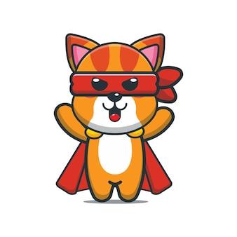 かわいい漫画の猫のスーパーヒーロー